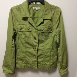 Jones New York Sz L Button Down Jacket Olive Green